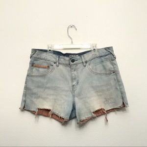 Free People High Waisted Blue Denim Shorts